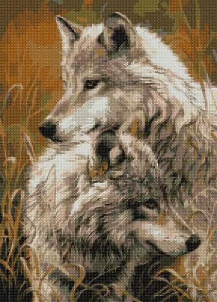 """Алмазная вышивка-мозаика """"Волчья верность"""" (500х360 мм) — фото, картинка"""