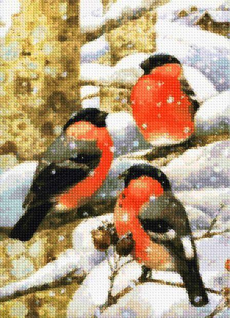 """Алмазная вышивка-мозаика """"Снегири на ветке"""" (360х260 мм) — фото, картинка"""