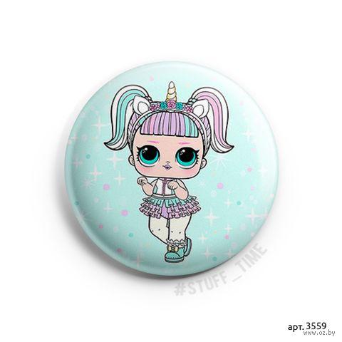 "Значок маленький ""Кукла LOL. Unicorn"" (арт. 3559) — фото, картинка"