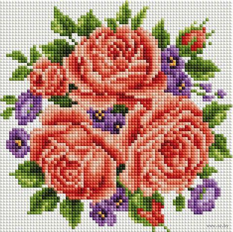 """Алмазная вышивка-мозаика """"Розы и фиалки"""" (200х200 мм) — фото, картинка"""