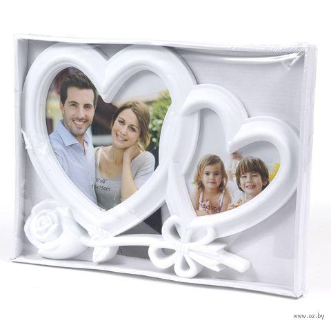 """Рамка пластмассовая """"Сердце с розой"""" на 2 фото (10х10 см, 10х15 см; арт. 10989623) — фото, картинка"""