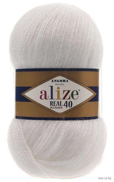"Пряжа ""ALIZE. Angora Real 40 №55"" (100 г; 480 м; белый) — фото, картинка"