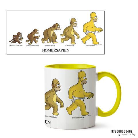 """Кружка """"Симпсоны. Homersapien"""" (желтая; арт. 409) — фото, картинка"""