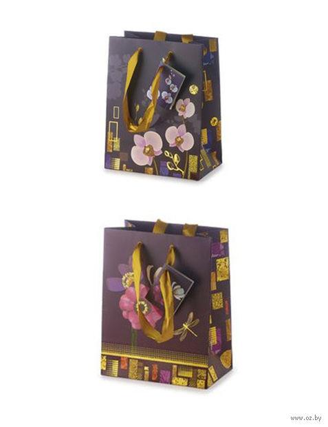 """Пакет бумажный подарочный """"Цветы"""" (17,8x22,5x10,2 см) — фото, картинка"""