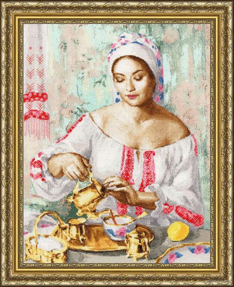 """Вышивка крестом """"Русская красавица"""" (452х354 мм) — фото, картинка"""