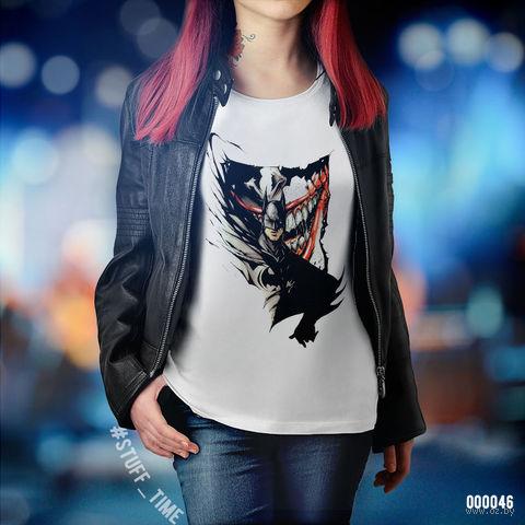 """Футболка женская """"Бэтмен и Джокер"""" (L; арт. 046) — фото, картинка"""