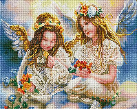 "Алмазная вышивка-мозаика ""Два ангела"" (400х500 мм) — фото, картинка"