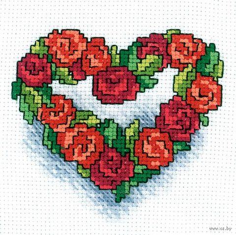 "Вышивка крестом ""Сердечко из роз"" (100x100 мм) — фото, картинка"