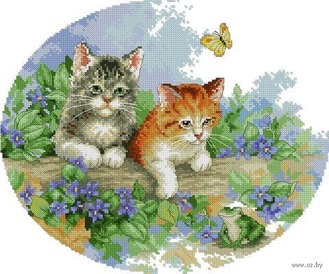 """Вышивка крестом """"Котята"""" (255x310 мм) — фото, картинка"""