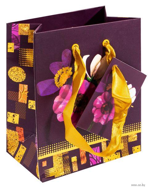 """Пакет бумажный подарочный """"Цветы"""" (13,7х11,1х6,2 см) — фото, картинка"""