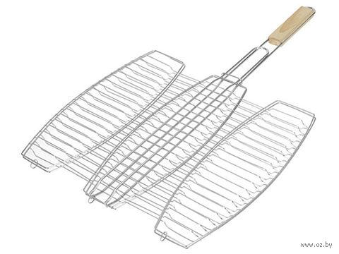 Решетка для гриля металлическая раскладная для рыбы (41*37 см)