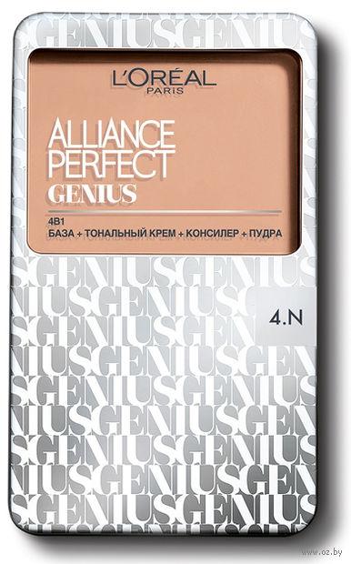 """Тональное средство для лица """"Alliance Perfect Genius 4в1"""" (тон: 4N, бежевый)"""