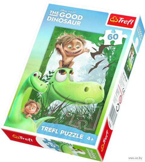 """Пазл """"Хороший динозавр. Хорошо иметь друга!"""" (60 элементов) — фото, картинка"""
