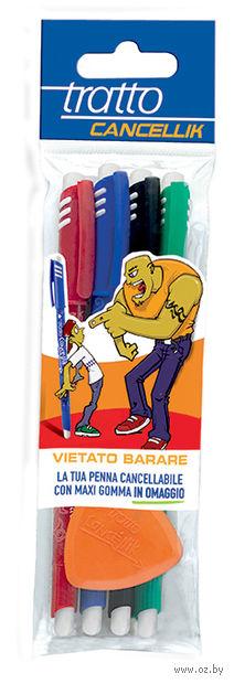 """Набор шариковых стираемых ручек """"TRATTO CANCELLIK"""" (4 цвета + ластик)"""