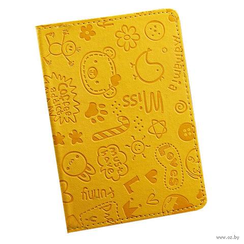 """Обложка для паспорта """"Happy Friends"""" (желтая) — фото, картинка"""