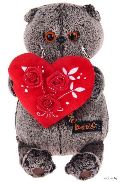 """Мягкая игрушка """"Басик с красным сердечком"""" (22 см) — фото, картинка"""