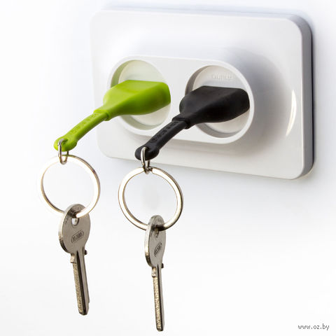 """Брелок и двойной держатель для ключа """"Unplug"""" (черный, зеленый)"""