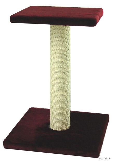 "Когтеточка ""Столбик с полкой"" (40х41х54 см; бордовая) — фото, картинка"
