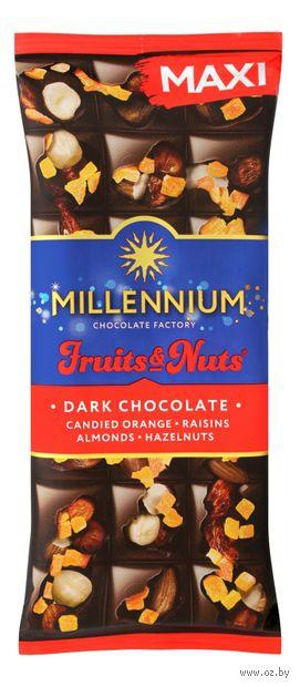 """Шоколад горький """"Millennium. С миндалем, цельными лесными орехами, апельсиновыми цукатами и изюмом"""" (140 г) — фото, картинка"""