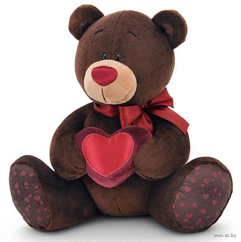 """Мягкая игрушка """"Медведь Choco с сердцем"""" (25 см) — фото, картинка"""