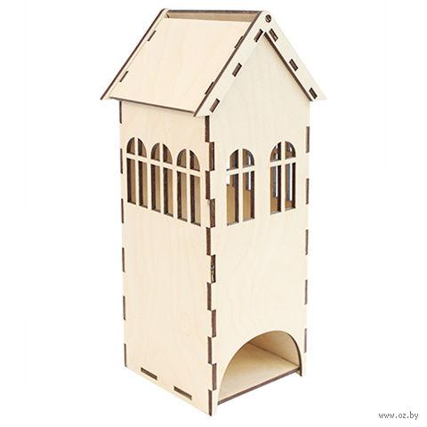 """Заготовка деревянная """"Чайный домик с окошками средний"""" (85х85х230 мм)"""