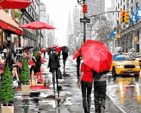 """Картина по номерам """"Дождь в Нью-Йорке"""" (400х500 мм)"""