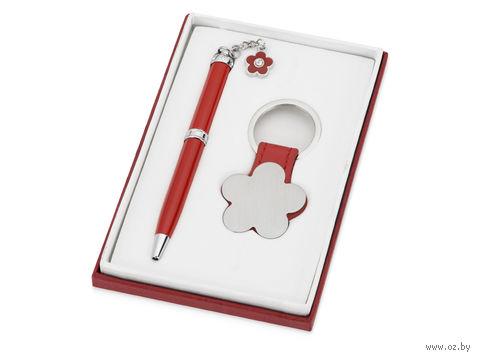 """Набор. Шариковая ручка, брелок """"Цветок"""" (красный)"""