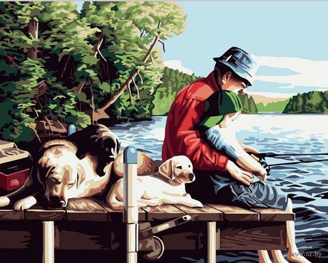 """Картина по номерам """"С отцом на рыбалке"""" (400х500 мм)"""