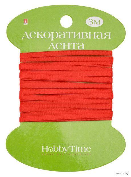 """Лента атласная """"Hobby Time"""" (красная; 3 мм; 3 м) — фото, картинка"""