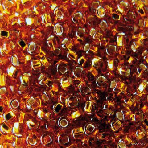 Бисер прозрачный с серебристым центром №17090 (темно-золотистый)