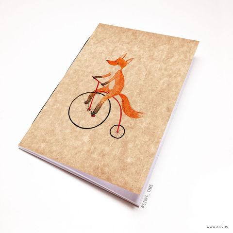 """Блокнот крафт """"Лиса на велосипеде"""" А5 (794)"""