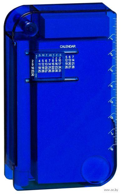 """Записная книжка с ручкой, """"вечным"""" календарем, линейкой и лупой (А7; синяя)"""