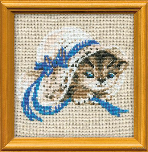 "Вышивка крестом ""Котенок в шляпе"" (150х150 мм) — фото, картинка"