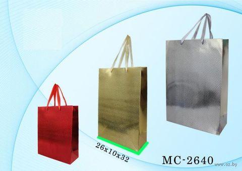 """Пакет бумажный подарочный """"Голография"""" (в ассортименте; 26x32x10 см; арт. МС-2640) — фото, картинка"""