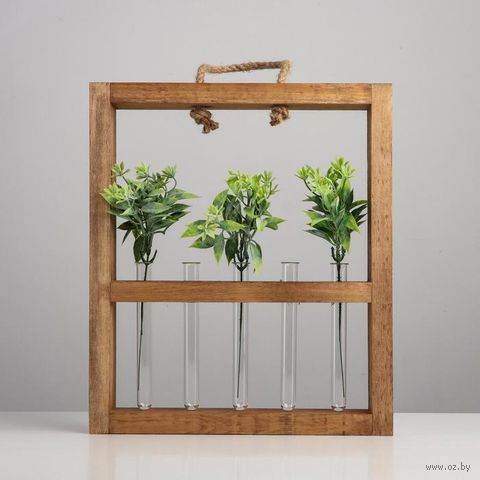 "Кашпо деревянное с 5 колбами ""Рамка Комфорт"", палисандр (260х45х400 мм) — фото, картинка"