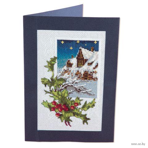 """Вышивка крестом """"Новогодняя открытка"""" (90х140 мм) — фото, картинка"""