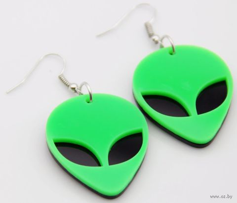 """Серьги """"Инопланетянин"""" (арт. RG-E9951; неоновый зелёный) — фото, картинка"""