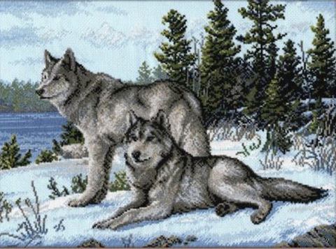 "Вышивка крестом ""Волки"" (400x300 мм) — фото, картинка"