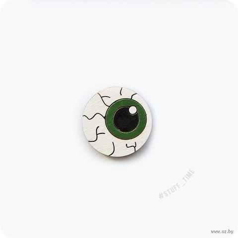 """Значок деревянный """"Ярко-зеленый глаз"""" (арт. 055) — фото, картинка"""