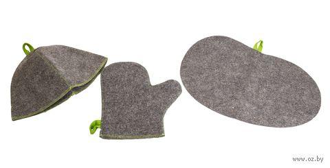 """Набор для сауны """"Шапка, рукавица, коврик"""" (серый) — фото, картинка"""