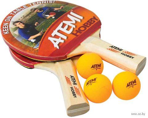 "Набор для настольного тенниса ""Hobby"" (2 ракетки+3 мяча; 1 звезда) — фото, картинка"