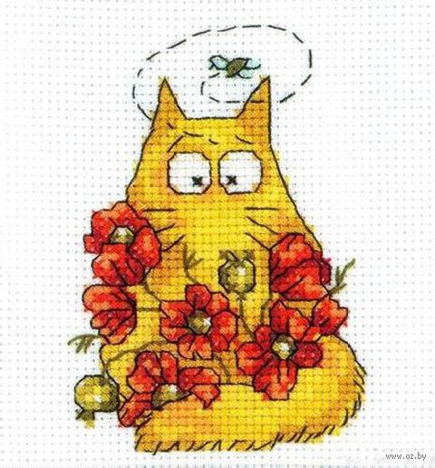 """Вышивка крестом """"Желтый кот с цветами"""""""