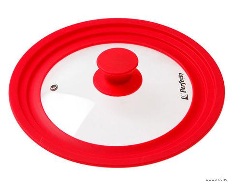 Крышка стеклянная с силиконовым ободом (22-24-26 см; красный) — фото, картинка