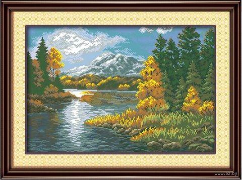 "Алмазная вышивка-мозаика ""Лесное озеро"" (580х400 мм) — фото, картинка"