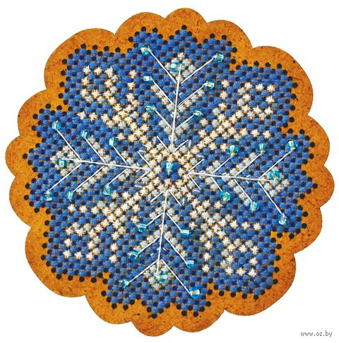 """Вышивка крестом """"Новогодняя игрушка. Морозный узор"""" (65х65 мм) — фото, картинка"""