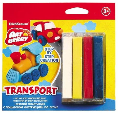 "Пластилин ""Transport. Step-by-step Сreation"" (4 цвета)"