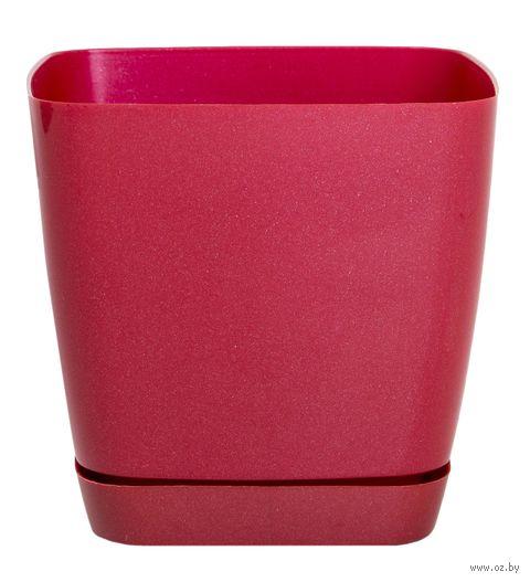 """Цветочный горшок """"Тоскана"""" (11х11х10,5 см; красный металлик) — фото, картинка"""