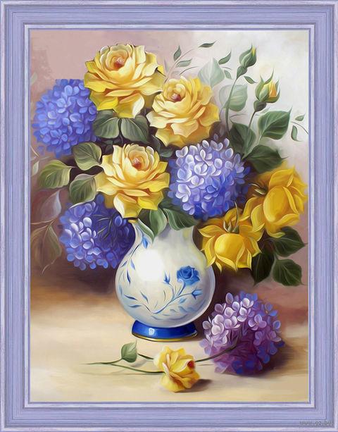"""Алмазная вышивка-мозаика """"Розы и гортензии"""" (300х400 мм) — фото, картинка"""