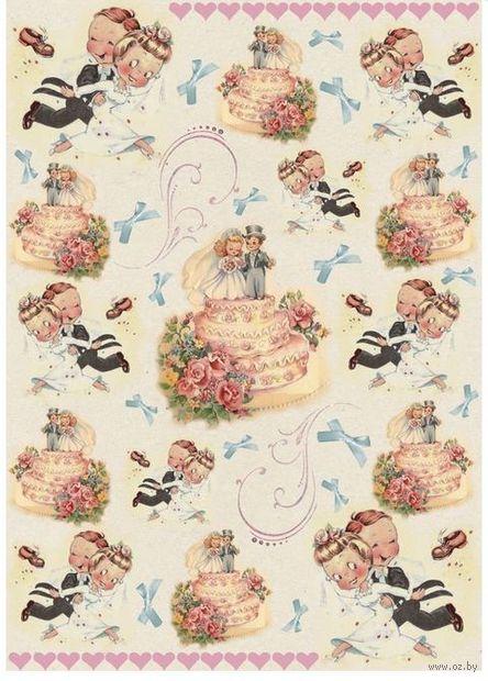 """Бумага для декупажа рисовая """"Свадебный торт"""" (21х30 см) — фото, картинка"""