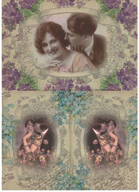 """Бумага для декупажа рисовая """"Ретро. Влюбленные пары"""" (21х30 см) — фото, картинка"""